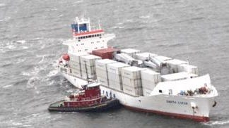 The Coast Guard, working with Delaware and New Jersey officials, is assisting the Santa Lucia, a ship that ran aground Tuesday in the Delaware Bay.