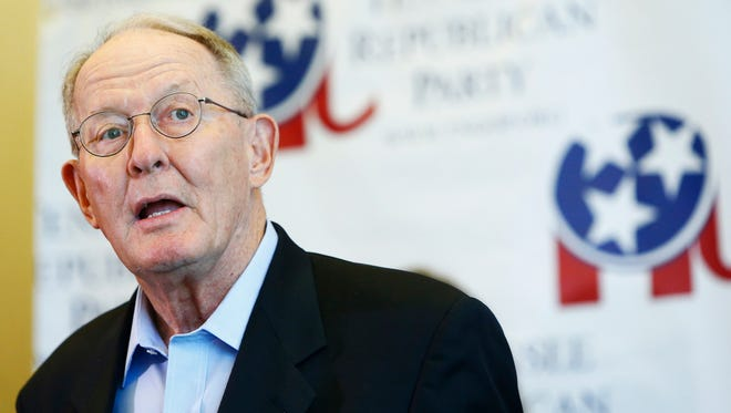 Sen. Lamar Alexander speaks during a unity rally Aug. 4 at the Omni Hotel in Nashville.