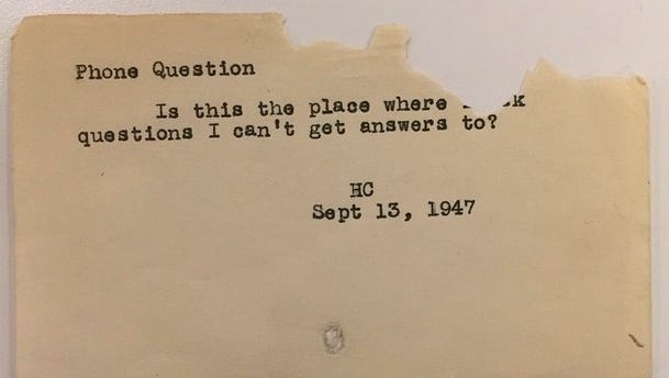 The New York Public Library is sharing photos of reference questions they found in a box while cleaning out an old desk.