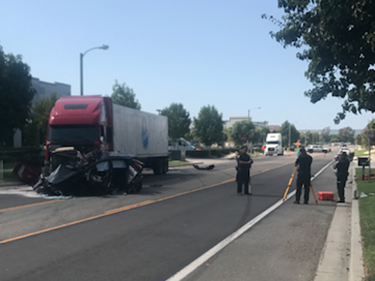 A 20-year-old Oxnard man was killed on Monday when the vehicle he was driving crossed into the opposing lane of traffic and crashed into a semi in the 1900 block of Eastman Avenue, officials said.