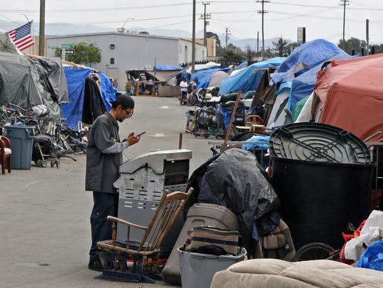 Homeless encampment along Lake Street