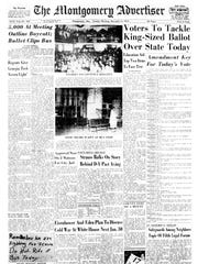 The Montgomery Advertiser reporting on the start of the Montgomery Bus Boycott including the mass meetings at Holt Street Baptist Church. (Advertiser Files)