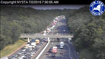 Southbound traffic near the Spring Valley toll barrier heads toward the Tappan Zee Bridge on July 2, 2015.