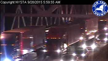 Southbound traffic is at a near standstill on the Tappan Zee Bridge Monday morning as two right lanes are closed around 6 a.m. with a debris spill.