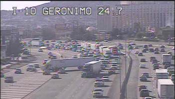 An 18-wheeler was blocking several lanes of traffic Tuesday evening on Interstate 10 East near Geronimo Drive.