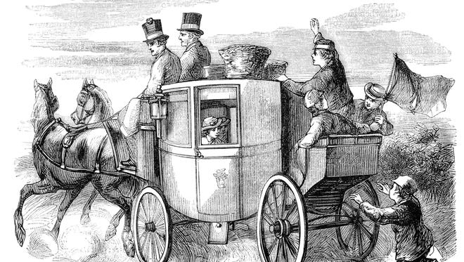 An engraving of a horsedrawn stagecoach full of travelling passengers.