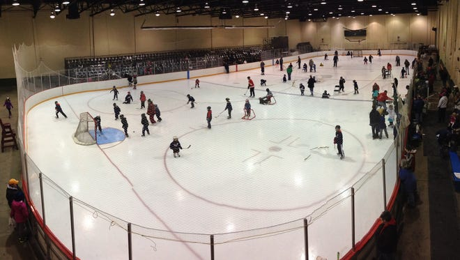 Kids learn to play hockey at McMorran during last year's Try Hockey For Free Day at McMorran.