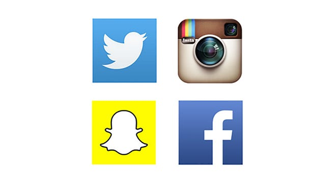 Logos for Twitter, top-left, Instagram, Snapchat and Facebook.