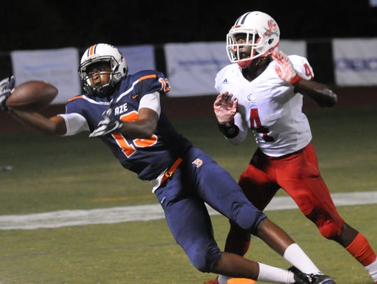Blackman's Tre Knox attempts to haul in a pass during