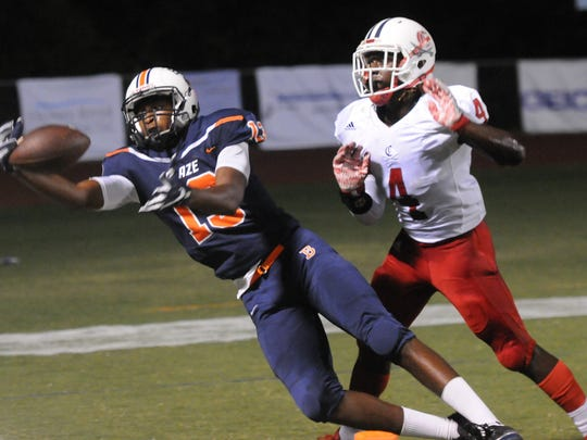Blackman's Tre Knox attempts to haul in a pass during Friday's win.