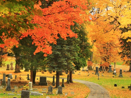 Autumn leaves over Spring Forest Cemetery in Binghamton