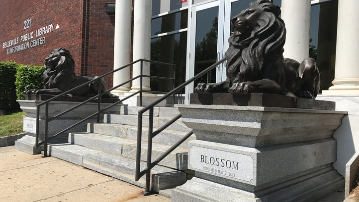 Belle and Blossom, bronze statues of lions outside