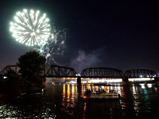 Fireworks at the Independence Day Festival in Shreveport.