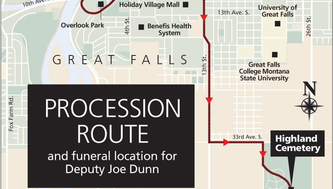 Funeral procession route for Deputy Joe Dunn