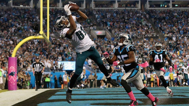 Jordan Matthews catches a pass from Sam Bradford on Sunday night, but can't get both feet in bounds in the end zone on Sunday night.