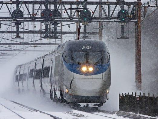 Train acela express location along the northeast corridor at