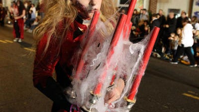 The Central Regional High School Marching Band at the 2014 Toms River Halloween Parade.