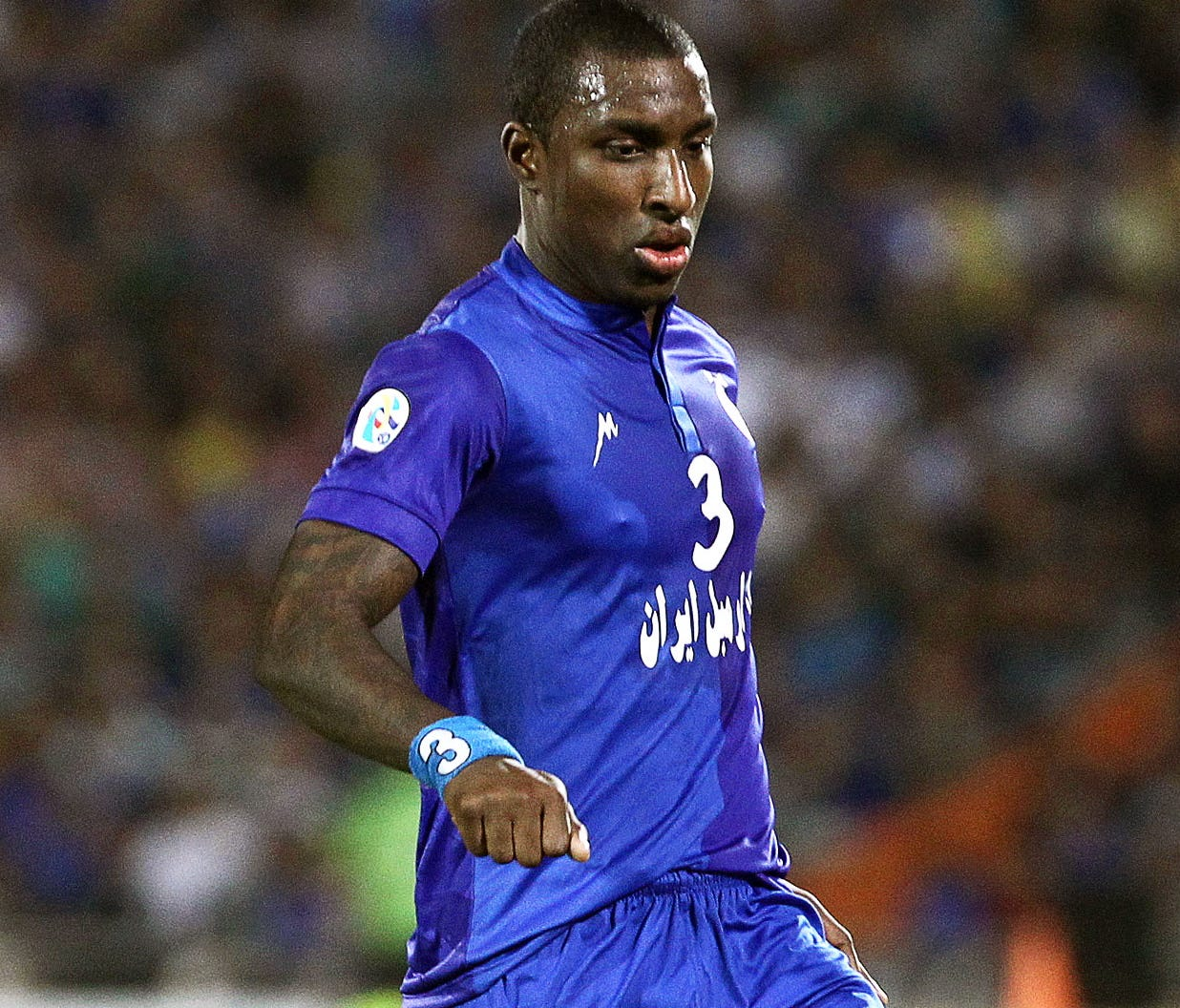 Esteghlal's midfielder Jlloyd Samuel in action during the AFC Champions League semi final soccer match between FC Esteghlal and FC Seoul at Azadi stadium in Tehran, Iran, in 2013.. Former Trinidadian soccer player Jlloyd Samuel has died in a car cras