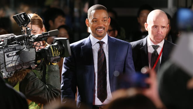 Cast member Will Smith attends the 'Bright' premiere in Tokyo, Japan, Tuesday. The American urban fantasy action crime film will be released globally on Netflix from Dec. 22.