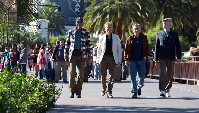 Morgan Freeman, left, Michael Douglas, Robert De Niro and Kevin Kline star in 'Last Vegas,' which follows four sixty-something friends who reunite in Las Vegas for a bachelor party.