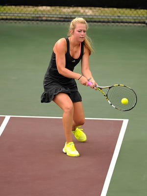 Vernon Northside's Jobee White returns a ball during her match against Eula's Grace Masonheimer in the Class 1A girls singles quarterfinal at the UIL State Tennis Championships on Thursday, May 18, 2017, at the George P. Mitchell Tennis Center in College Station.