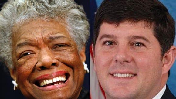 Maya Angelou, left, and U.S. Rep. Steven Palazzo.