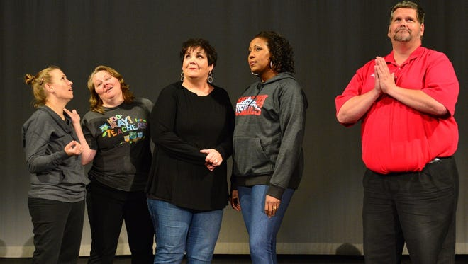 """Sister Mary Robert (Melissa Williams), Sister Mary Patrick (Melissa Zamzow), Mother Superior (Nancy Brasfield), Deloris Van Cartier (Mineasa Nesbit) and Monsignor O'Hara (David Conrady), from left, look for divine inspiration in """"Sister Act The Musical,"""" which is playing through March at the Wichita Theatre."""