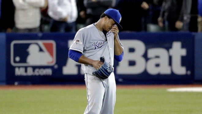 Kansas City Royals starting pitcher Edinson Volquez, after loading the bases during the sixth inning.