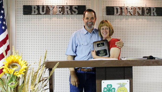 """The Otero County Fairboard welcomed our 2015 Ring of Honor recipient Tim Rabon. Tim was introduced  by the 2014 winner, Janice Smotherman.  We thank Tim for all of his support of the kids and the fair for many years."""""""