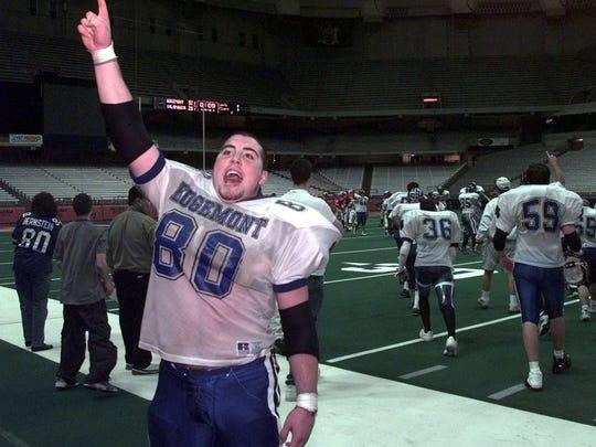 Matt Bernstein signals the crowd that the game is over