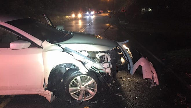 A woman was injured when she crashed her car into a utility pole on Saddle River Road in Monsey on July 5, 2016.