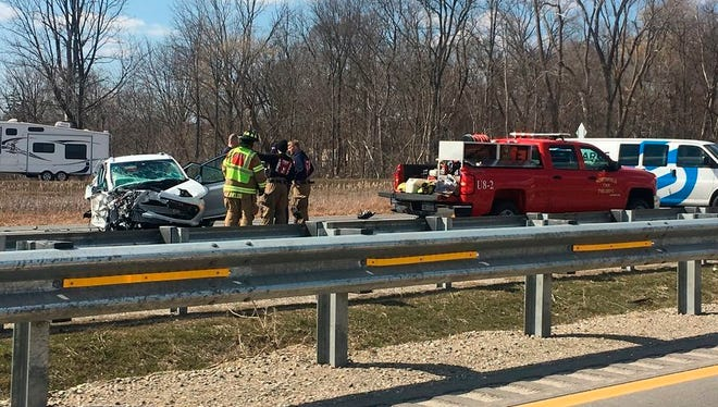 In a Sunday, April 8, 2018, photo, authorities say a 74-year-old man drove the wrong way on on U.S. highway 23 in Michigan, causing a multi-vehicle crash that left several people from Ohio dead and several others injured near Whitmore Lake, Mich.
