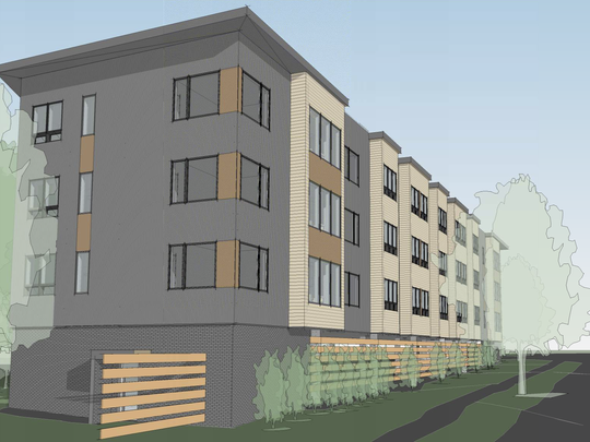 "A four-story, 47-unit ""micro-apartment"" building proposed for Fayette Road in South Burlington is seen from the northwest in this preliminary sketch created by Wiemann Lamphere Architects, and submitted by developer Joe Larkin on Jan. 23, 2018."
