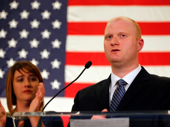 Jim Mowrer gives a concession speech at the Iowa Democratic