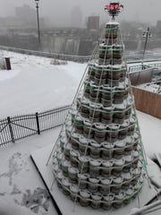Genesee's Christmas tree made of 300 half-barrel beer