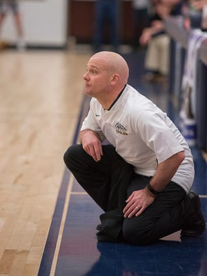 David Sheldon coaches the Eagles in the sectional championship game against St. Mary's Central Catholic.
