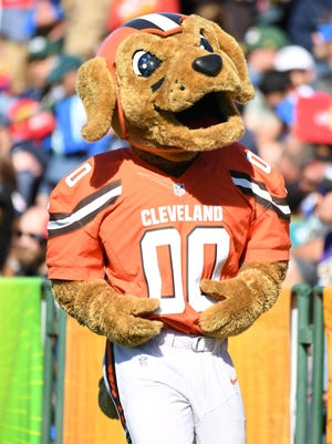 Jan 24, 2018; Orlando, FL, USA; Cleveland Browns mascot Chomps at the Pro Bowl Skills Showdown at ESPN Wide World of Sports.