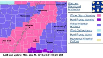 The pink areas of this map, updated 8:31 p.m. Monday, show the places under a winter storm warning, including Shelby County and DeSoto County.
