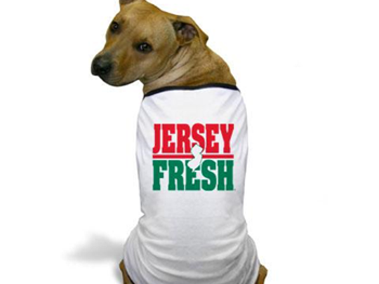A new line of Jersey Fresh products includes a t-shirt for dogs.