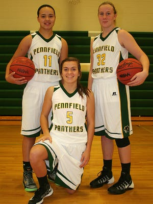 Pennfield will be led by key returners, from left, England Bennett, Jessica Roan and Kaitlyn Wilkey.
