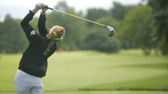 Sydnee Michaels tees off 10 for a practice round on Tuesday.