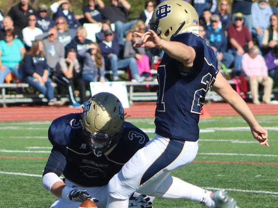 Senior kicker Alec Jbara booted this 30-yard field goal and six extra points Saturday in a win over Marysville.
