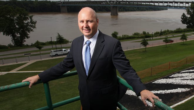 New Albany Mayor Jeff Gahan with the Sherman Minton bridge in the background.