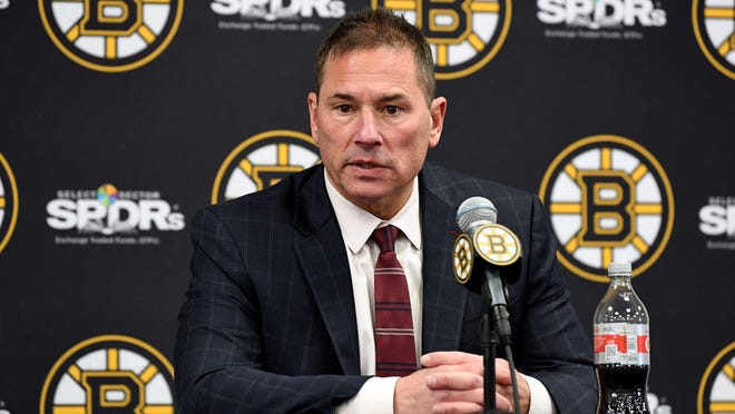Boston Bruins head coach Bruce Cassidy speaks with the media after a game against the Buffalo Sabres at the TD Garden.