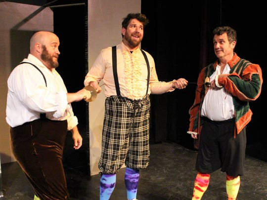 "Casey Baccus (from left), Lance Turner and Brent Jenkins appear in Angelo Civic Theatre's ""The Complete Works of William Shakespeare (Abridged)."""
