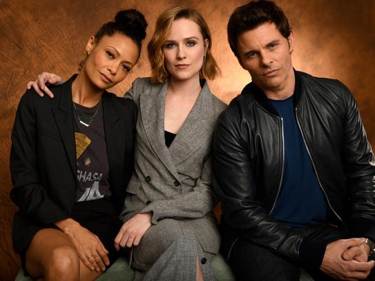 Thandie Newton, left, Evan Rachel Wood and James Marsden