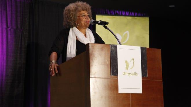 Angela Davis speaks during the Chrysalis INSPIRE 2016 luncheon in Des Moines on Thursday, Sept. 29, 2016.