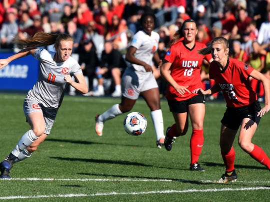 Carson-Newman forward Lauren Wade charges at the ball before scoring a goal against Central Missouri at the Swopes Soccer Complex in Kansas City on Saturday, Dec. 2, 2017.