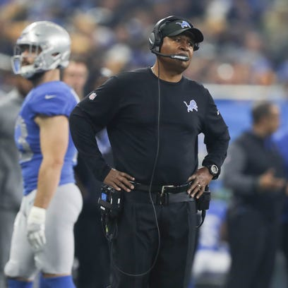 Lions coach Jim Caldwell on the sideline in the third