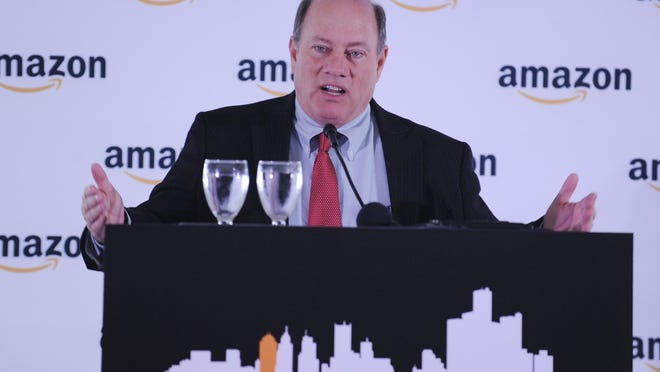 """""""I just want to say to Amazon: Welcome to Detroit,"""" Mayor Mike Duggan said. """"You're going to love it here."""""""